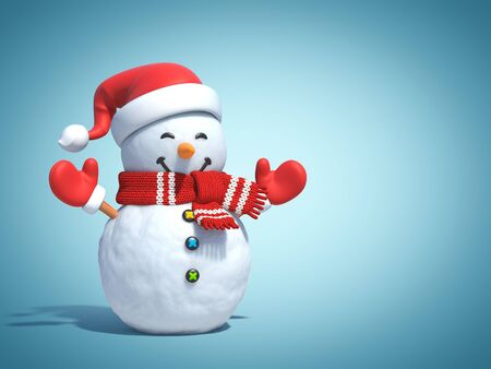 Snowman behind blue poster, greeting card template, 3d rendering