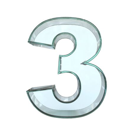 Glass font 3d rendering, number 3