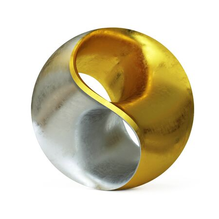 Three dimensional spherical yin yang abstract modern sculpture 3d rendering
