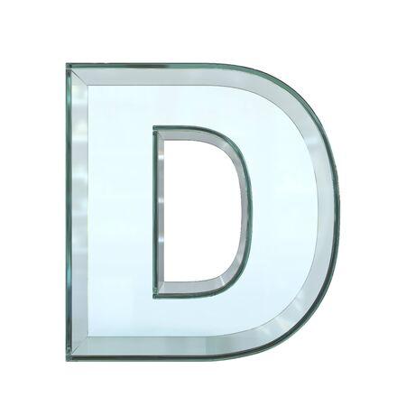 Glass font 3d rendering, letter D Stockfoto