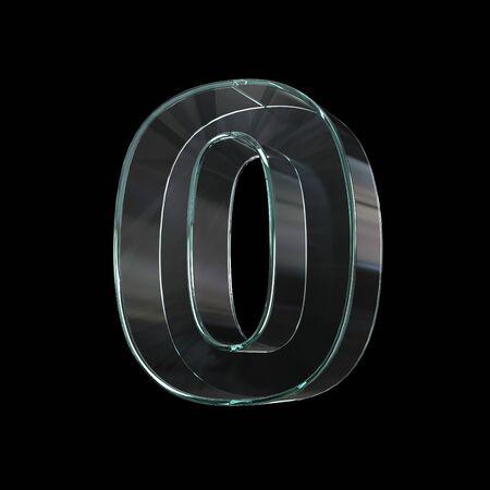 Glass font 3d rendering, number 0 版權商用圖片
