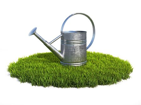 Watering can on grass, shiny aluminum gardening tool 3d rendering 写真素材