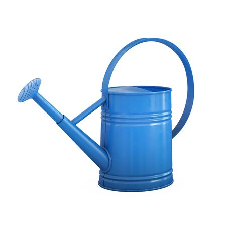 Watering can, shiny blue gardening tool isolated on white background 3d rendering