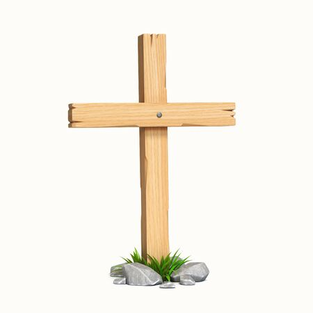 Wooden cross isolated on white background 3d rendering