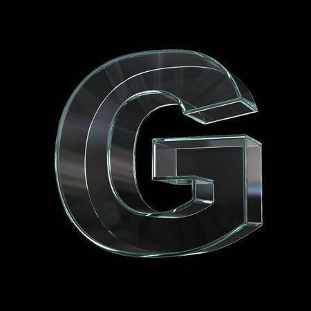 Glass font 3d rendering, letter G