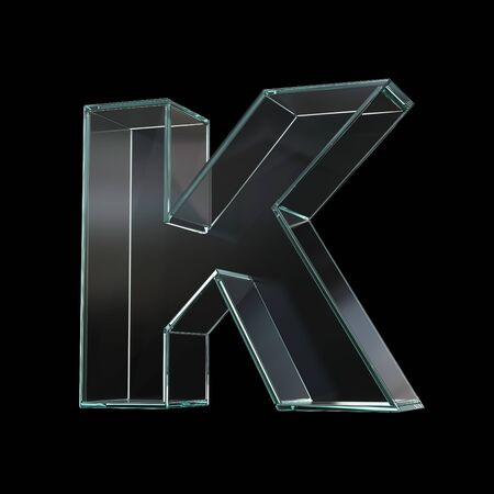 Glass font 3d rendering, letter K