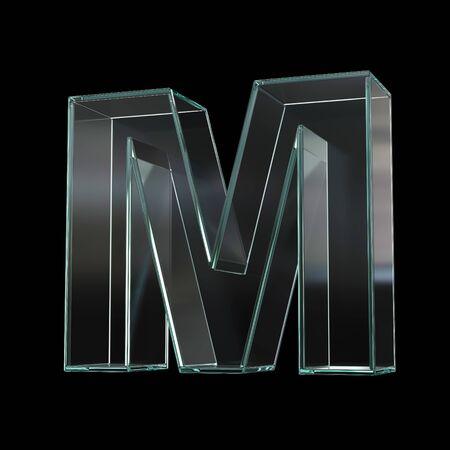 Glass font 3d rendering, letter M