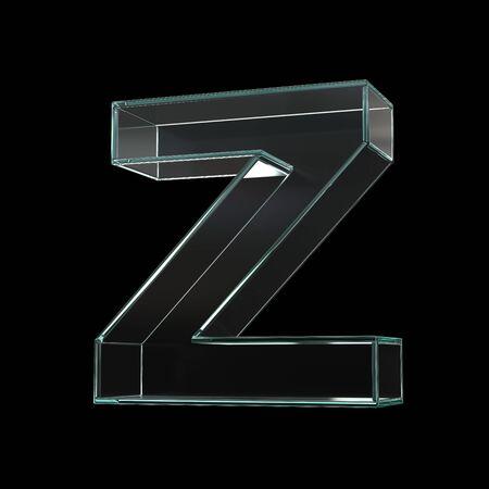 Glass font 3d rendering, letter Z Zdjęcie Seryjne