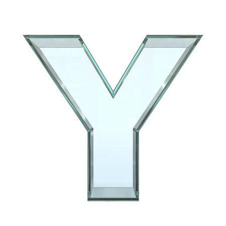 Glass font 3d rendering, letter Y