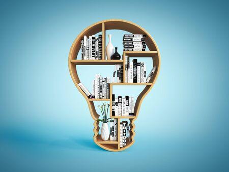 Bookshelves in the shape of light bulb, new idea book shelf concept 3d rendering Imagens