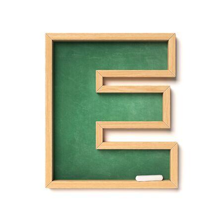 Chalkboard font 3d rendering letter E Archivio Fotografico - 132022653