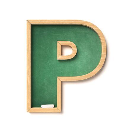 Chalkboard font 3d rendering letter P