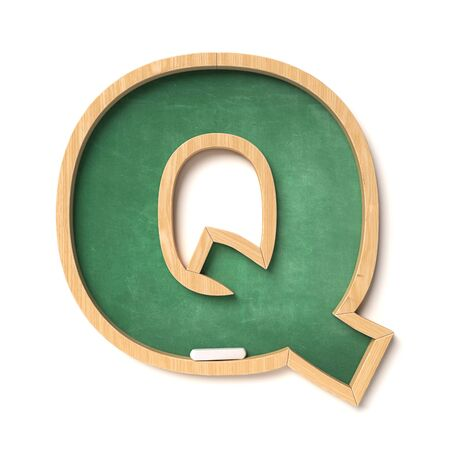 Chalkboard font 3d rendering letter Q Archivio Fotografico - 132022490