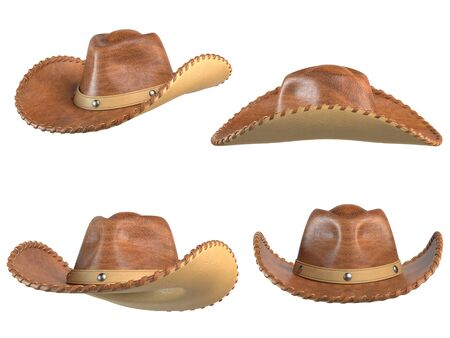Cowboy hat isolated on white background, various views, 3d rendering 写真素材