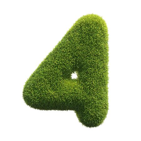 Grass font 3d rendering number 4 Archivio Fotografico - 132021787