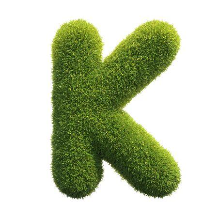 Grass font 3d rendering letter K