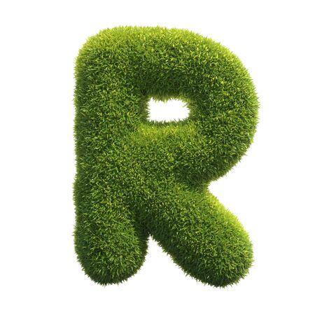 Grass font 3d rendering letter R Reklamní fotografie