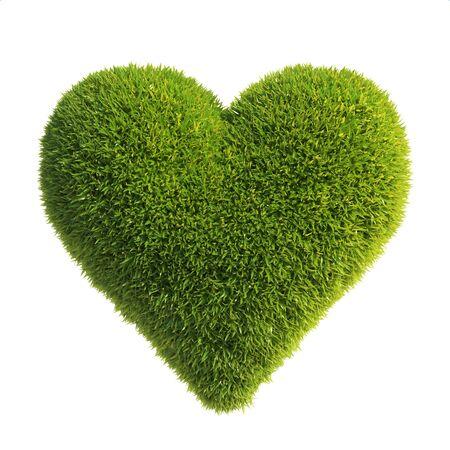 Grass heart shape, love green, heart shaped lawn 3d rendering