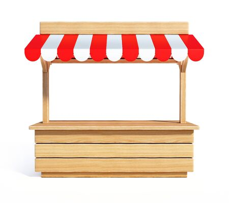 Market stall with striped red and white awning, wooden counter, kiosk, stand, 3d rendering Stok Fotoğraf