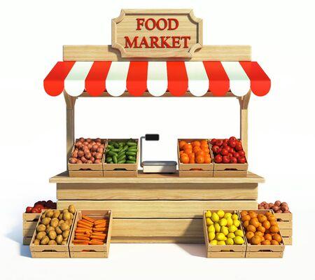 Chiosco del mercato alimentare, negozio degli agricoltori, bancarella di prodotti agricoli, stand di frutta e verdura 3d rendering