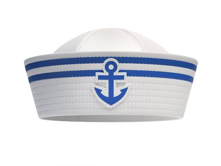 Sailor hat with blue anchor emblem isolated on white background 3d rendering Stockfoto