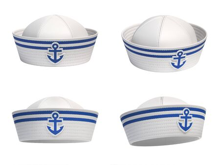 Sailor hat with blue anchor emblem from various views 3d rendering Stockfoto