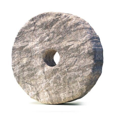 Stone wheel isolated on white background 3d rendering Standard-Bild