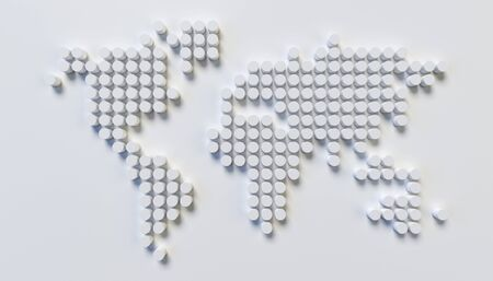 World map wall sculpture, stylized world map made of the circular patterns, 3d rendering