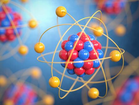 Atom 3d rendering, protons neutrons and electrons