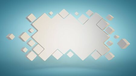 Abstract geometric billboard, 3d background template, 3d rendering
