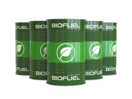 Barils de biocarburant avec rendu 3d du symbole de biocarburant Banque d'images