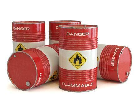 Rote Fässer der brennbaren Substanz mit brennbarem Symbol 3D-Rendering