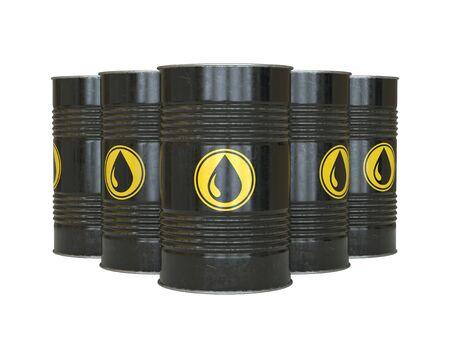 Petrol, oil, fuel, black barrels with oil drop symbol 3d rendering