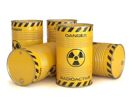Radioactive waste yellow barrels with radioactive symbol 3d rendering 写真素材