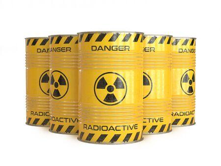 Barils jaunes de déchets radioactifs avec le rendu 3d de symbole radioactif Banque d'images