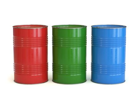 Red green and blue barrels isolated on the white background 3d rendering