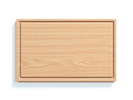 Tablero de madera aislado en la representación 3d del fondo blanco