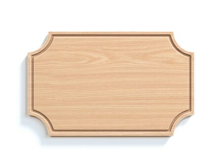Wooden sign board isolated on white background 3d rendering