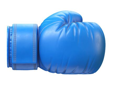 Blue boxing glove isolated on white background 3d rendering