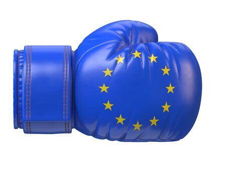 EU flag on boxing glove, European boxing 3d rendering