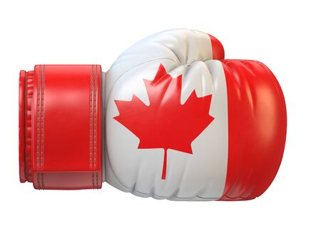 Flag of Canada on boxing glove, Canadian boxing 3d rendering