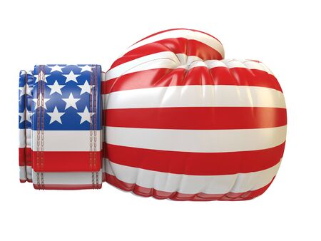 USA flag on boxing glove, American boxing 3d rendering