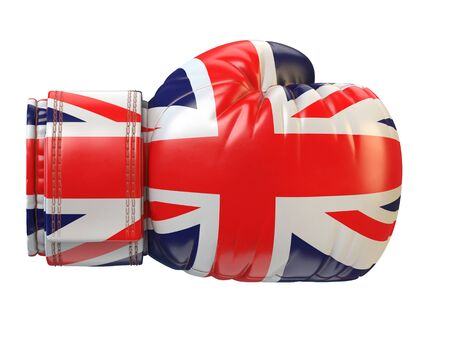 Union Jack, United Kingdom flag on boxing glove, British boxing 3d rendering