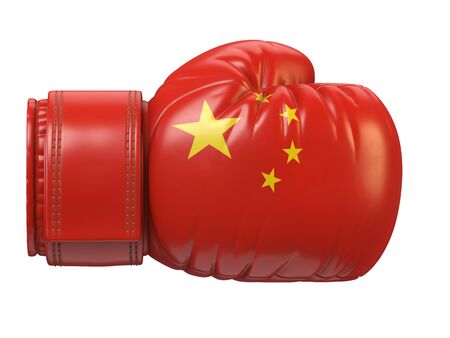 Flag of China on boxing glove, Chinese boxing 3d rendering