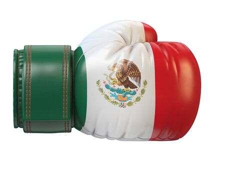 Flag of Mexico on boxing glove, Mexican boxing 3d rendering Stok Fotoğraf