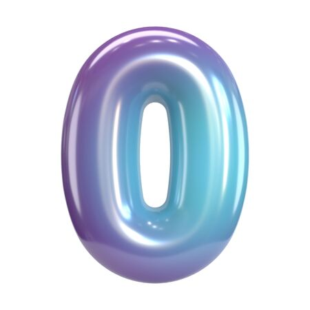 Round purple and blue font, balloon like letters and numbers, 3d rendering number 0 Archivio Fotografico - 131813847