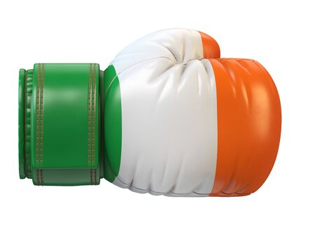 Flag of Ireland on boxing glove, Irish boxing 3d rendering