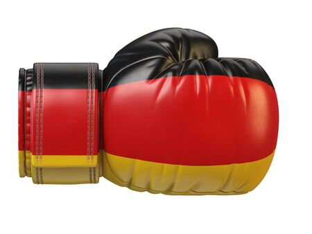 Germany flag on boxing glove, German boxing 3d rendering Stok Fotoğraf