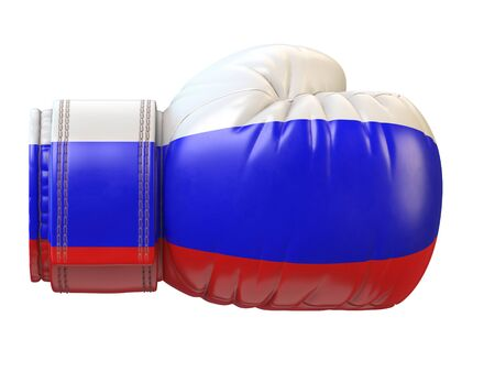 Flag of Russian Federation on boxing glove, Russian boxing 3d rendering