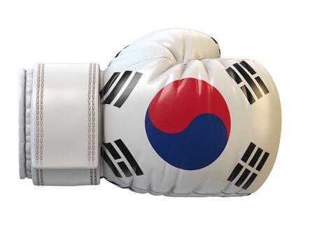 South Korea flag on boxing glove, Korean boxing 3d rendering Stok Fotoğraf